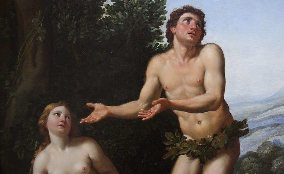Dieu réprimandant Adam et Eve, peinture, détail