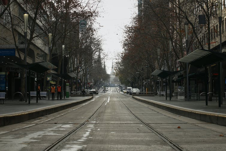 Deserted Bourke Street in central Melbourne
