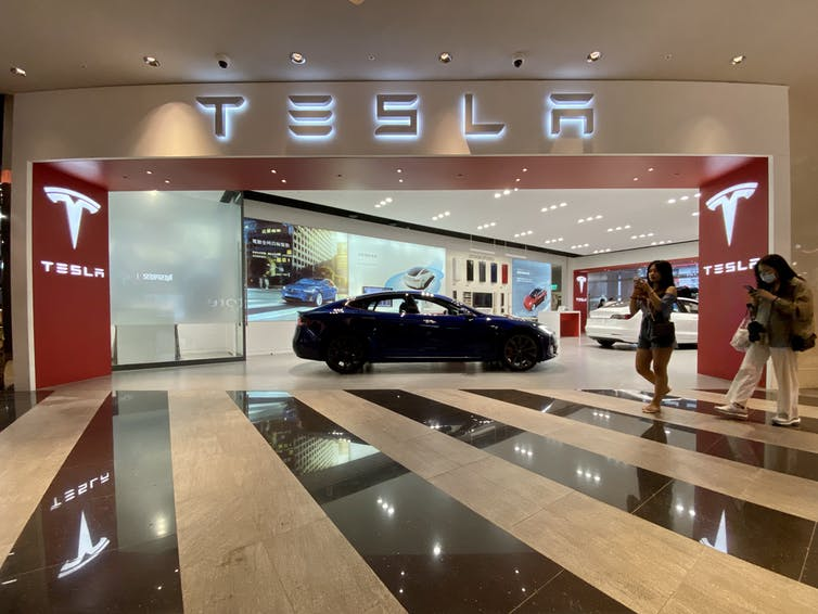A Tesla showroom in Taipei, Taiwan.