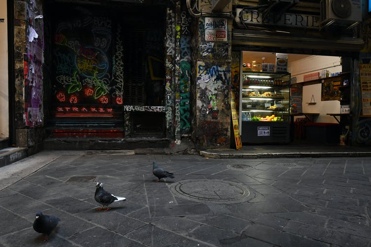 A cafe open for takeaway in Melbourne's CBD