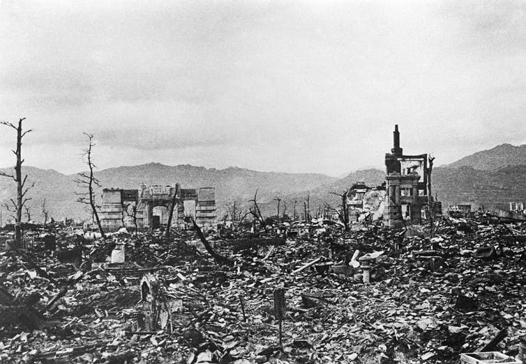 Hiroshima's city center after the explosion of an atomic bomb on Aug. 6, 1945