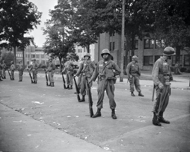 Armed federal troops in Little Rock, Arkansas.