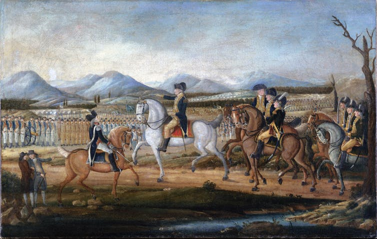 A painting of George Washington and his troops.