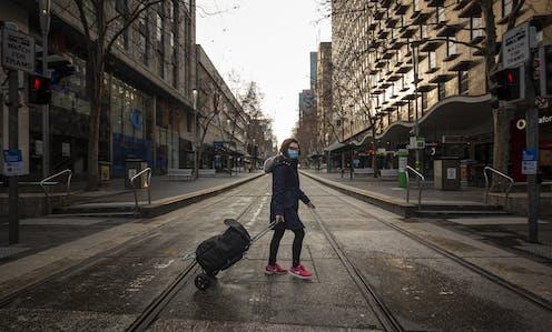 Near empty streets in Melbourne