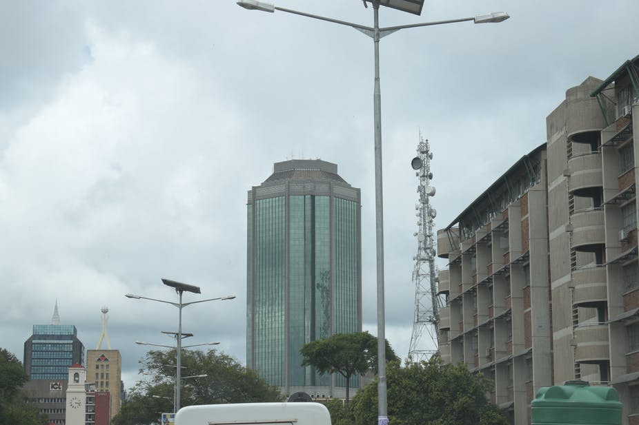 Street view of Zimbabwe's central bank building