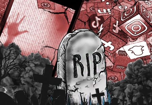 Cartoon of tombstone surrounded by social media icons