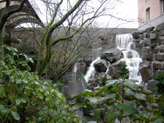 Small manmade waterfall park in Seattle, Wash.