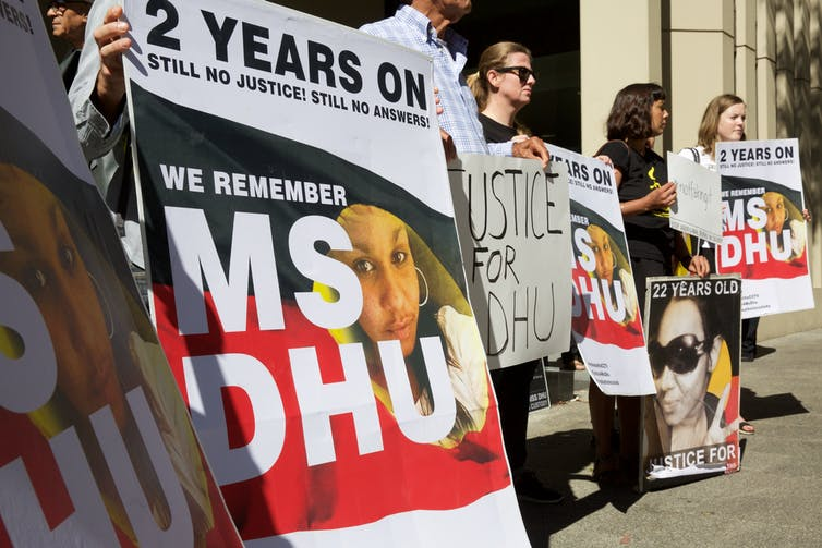 Supporters of Ms Dhu outside a coroner's court.