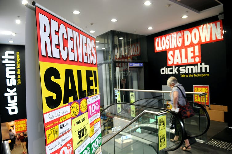 Closing-down sales for Dick Smith Electronics in April 2016.