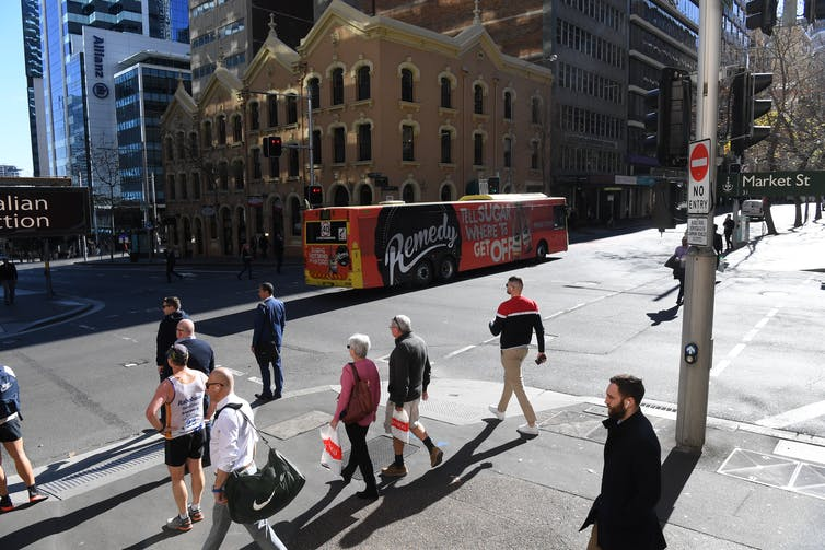 People crossing the road in the Sydney CBD