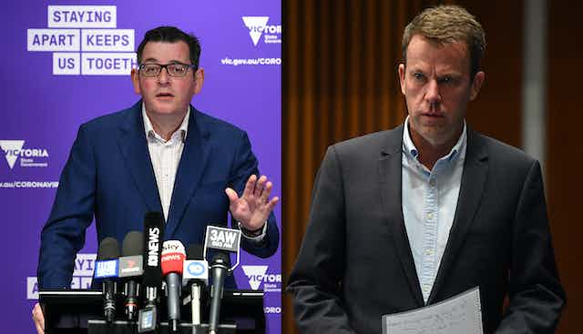 Daniel Andrews on the left, behind the microphone; Dan Tehan on the right, holding speaking notes