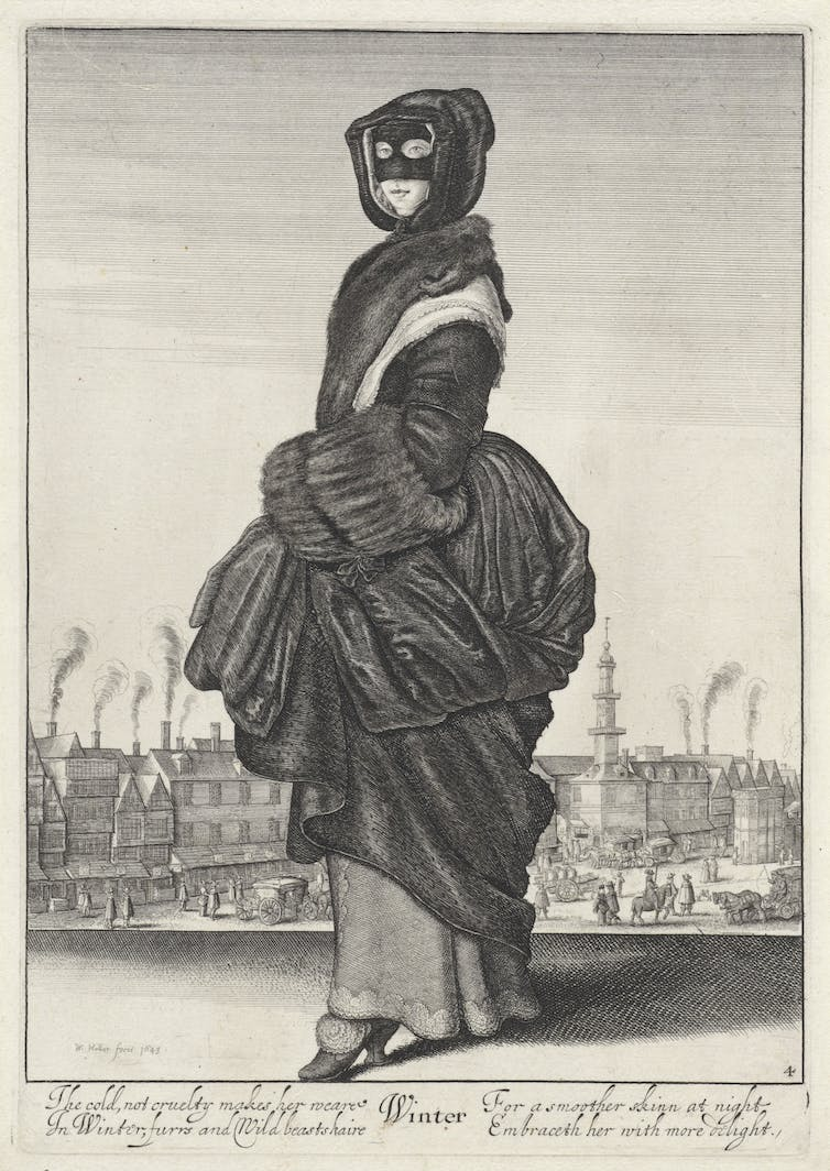 17th century engraving of woman wearing black eye mask and period clothing.
