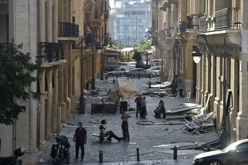 Street in Beirut filled with debris