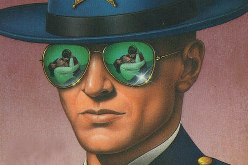 The cover of an edition of Jim Thompson's 1952 novel 'The Killer Inside Me' depicts protagonist Lou Ford wearing aviator sunglasses.
