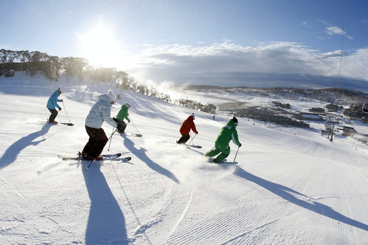 Skiers at Perisher Valley