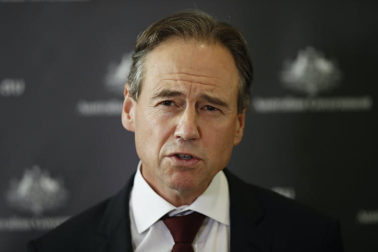 Minister for Health Greg Hunt at a press conference