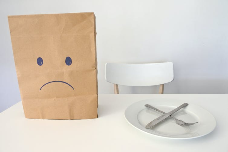 Paper bag with frowning face next to empty plate and cutlery.