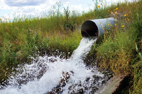 A corrugated metal tunnel embedded in a grass bank spews water.