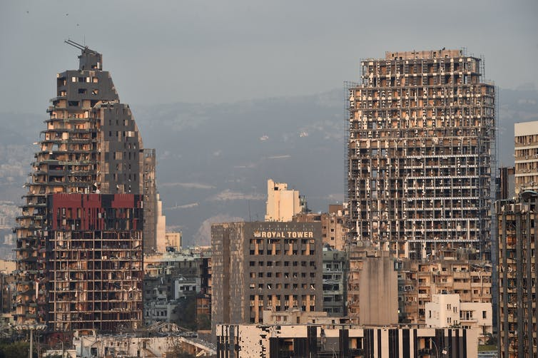 Buildings in Beirut damaged by the massive explosion in the city's port.