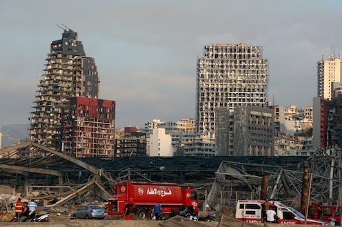 Damaged buildings after a massive explosion in Beirut Port.