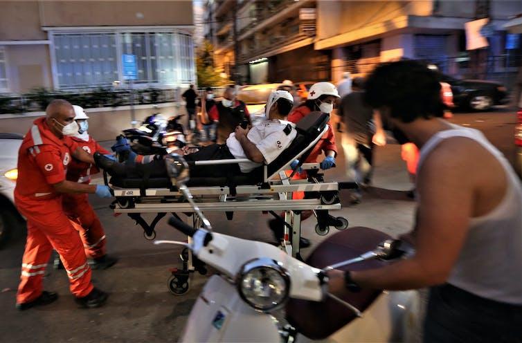 A man and an ambulance.