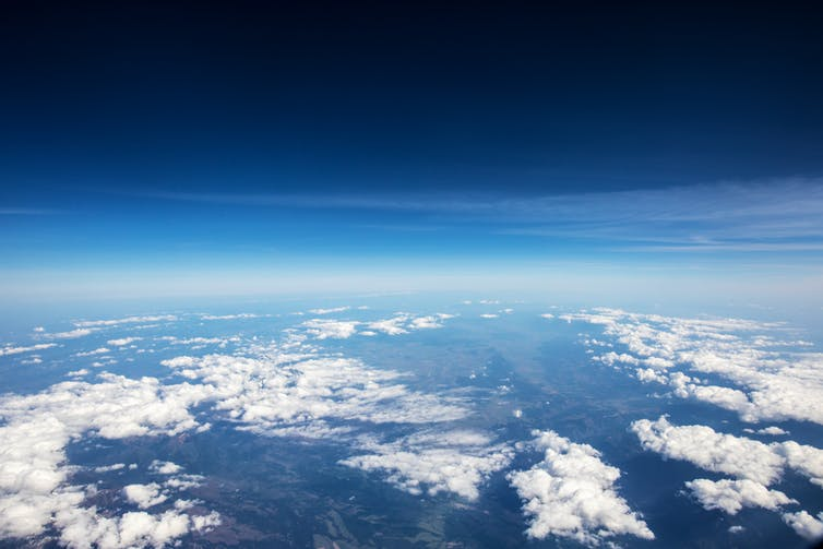 A high-altitude view of Earth