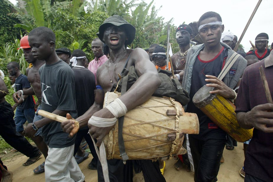 Ijaw youths beat drums in Kaiama, Bayelsa State during a carnival