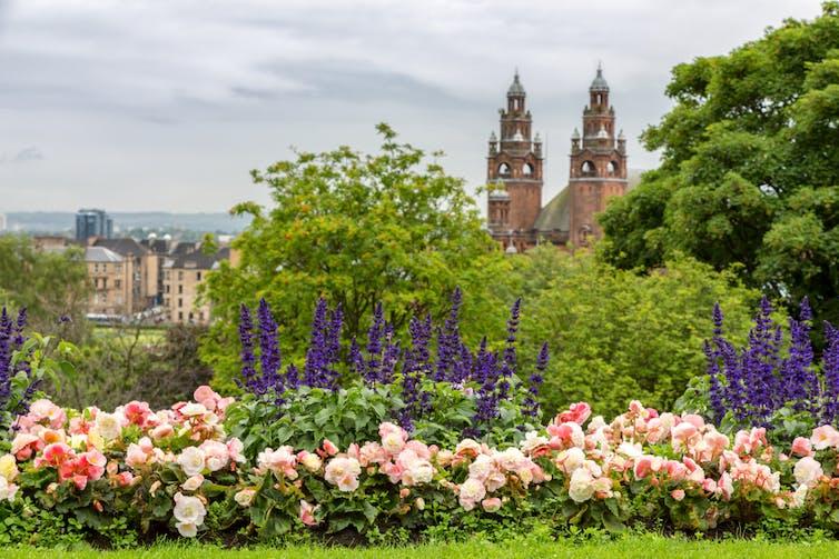 View of Kelvingrove Art Gallery from Kelvingrove Park, Glasgow.