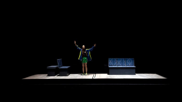 Girl on stage set of train interior