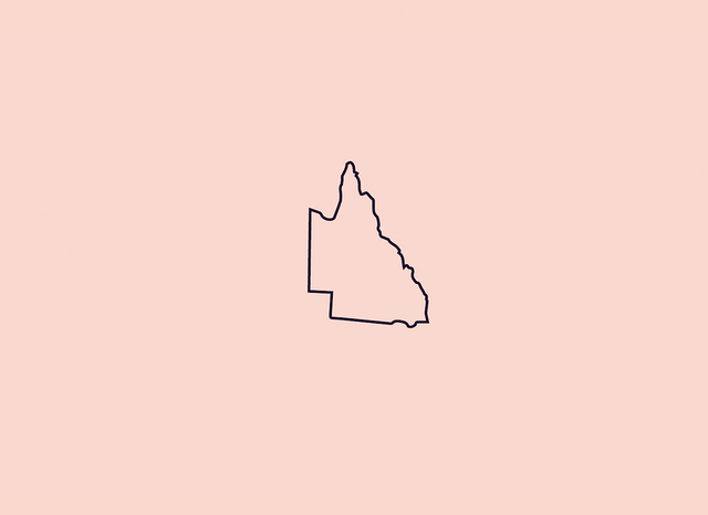 Blush pink graphic with an outline of Queensland