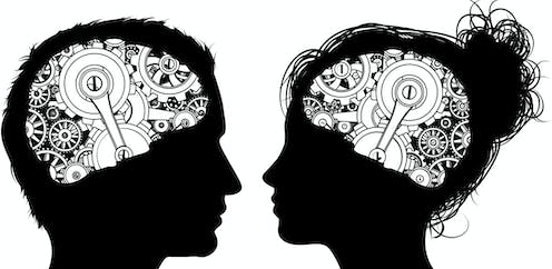 Silhouettes of a male and female head facing each other with brains made of cogs