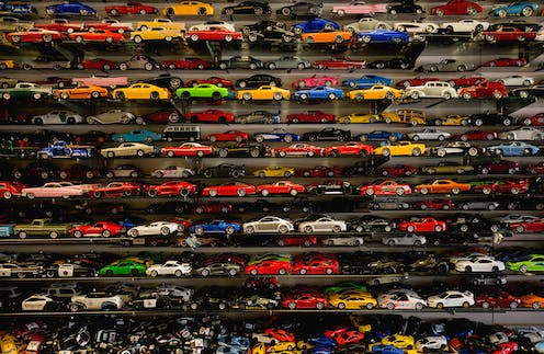 Stacks of toy cars