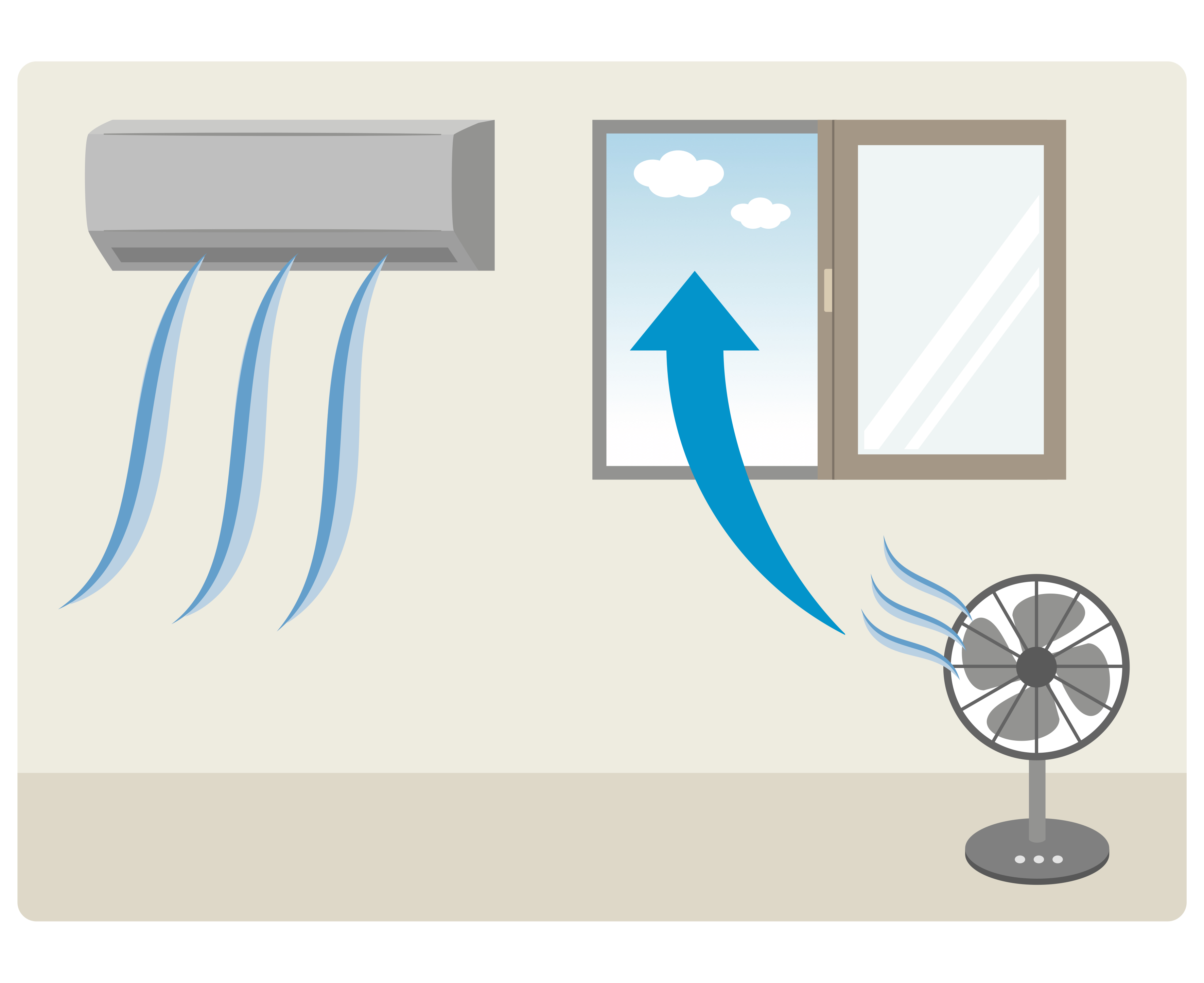 A drawing showing an air conditioner blowing air into a building and a fan blowing air from an open window.