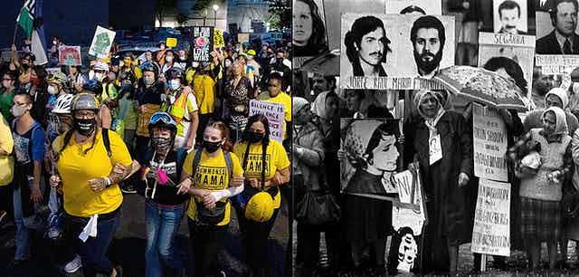 Two images- wall of moms, wearing bright yellow marching down the street during the Black Lives Matter protests in Portland, Oregon, and a second black and white image of the Madres de Plaza de Mayo in Argentina holding up pictures of lost sons and husbands.