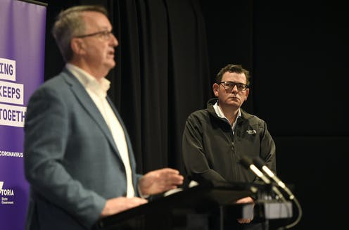 Victorian Premier Daniel Andrews and Mental Health Minister Martin Foley at Sunday's COVID-19 briefing.
