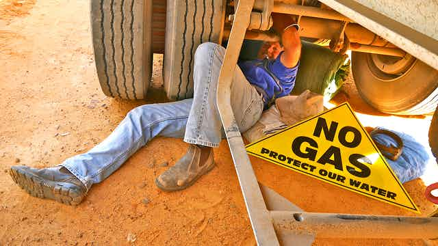 A man protesting the Narrabri Gas Project