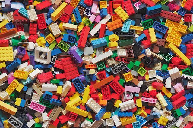 A pile of plastic Lego bricks.