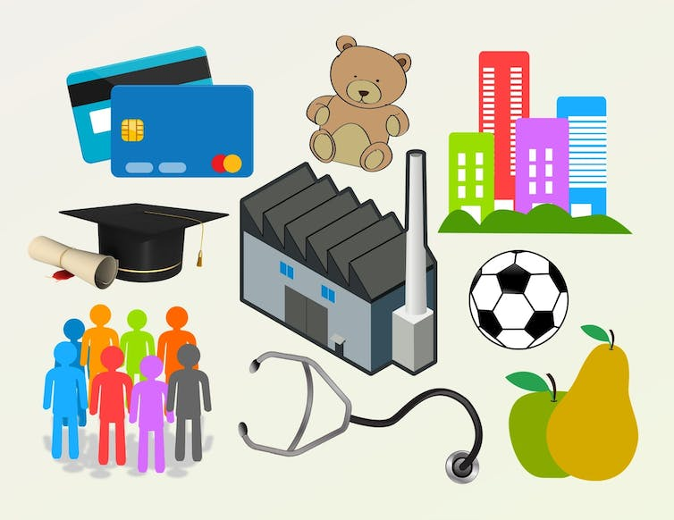 Collage showing credit cards, mortarboard and diploma, group of people, stethoscope, factory, fruit, soccer ball, teddy bear and urban buildings.