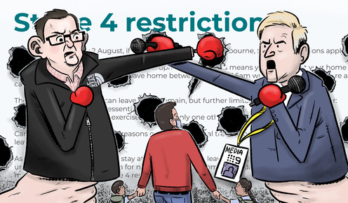 Puppets of Dan Andrews and a journalist fight it out on a backdrop of Stage 4 restrictions, punching holes in the regulations while a confused Victorian family looks on.