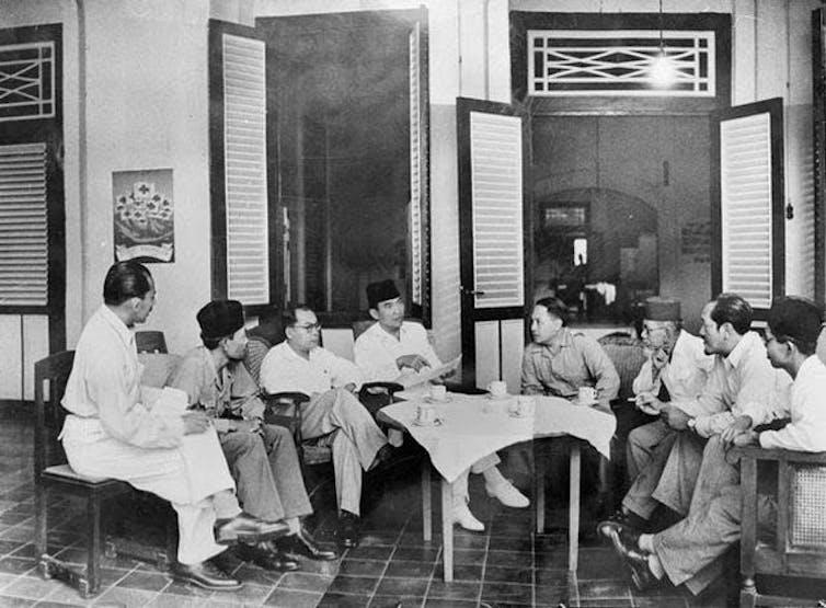 Soekarno (fourth from left) and Hatta (third from left) in Rengasdengklok.