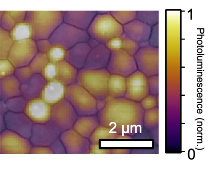 Light emitted from mosaic grains in a perovskite film
