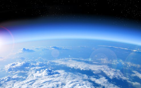 High altitude view of Earth's atmosphere at the edge of space