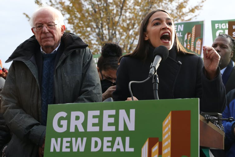 Democratic presidential candidate Sen. Bernie Sanders and Rep. Alexandria Ocasio-Cortez hold a news conference to introduce legislation to transform public housing as part of their Green New Deal proposal out