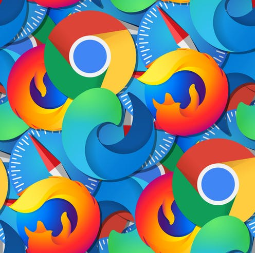 patterned background composed of major browser logos