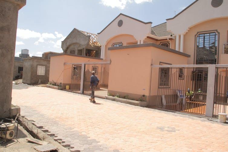 Row of luxury houses being built in Nairobi