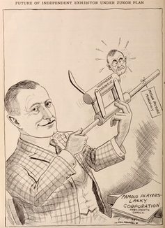 A cartoon from the Exhibitor's Herald depicts Adolph Zukor assuming control over independent theater owners.