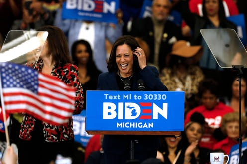 Kamala Harris at a Biden campaign lectern