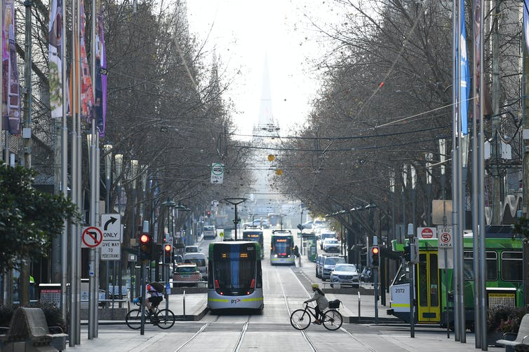 Melbourne CBD intersection on a grey day.