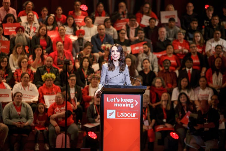 Jacinda Ardern in front of audience