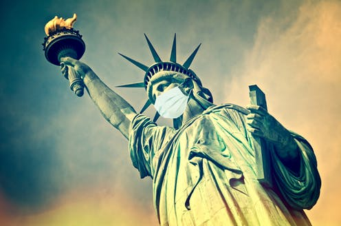 Illustration of the Statue of Liberty wearing a face mask